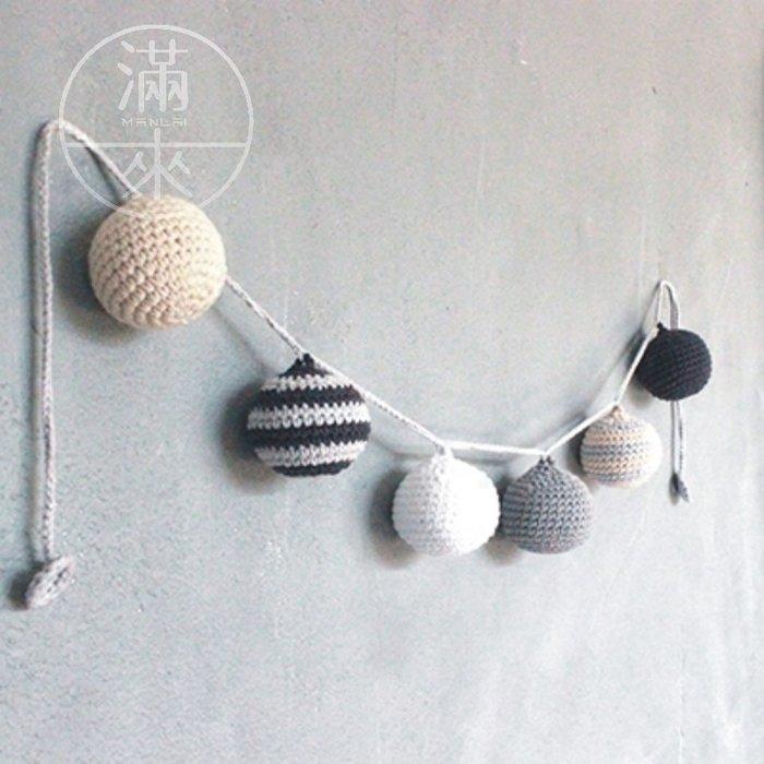 奶棉球裝飾 手工鉤針掛件 針織掛件【奇滿來】牆璧裝飾品 掛飾 牆飾 壁飾 掛件 裝飾品 牆面裝飾 ABYF