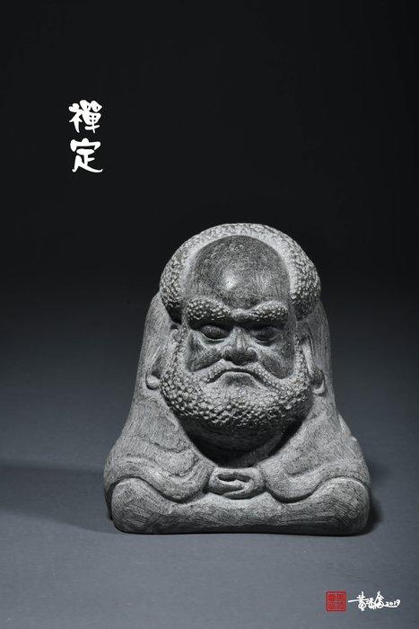 黃添富老師石雕作品百態達摩-【禪定】達摩祖師 靜坐達摩 面壁達摩