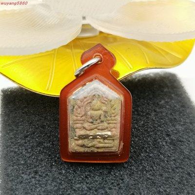 佛佑一菩提源~泰國佛牌 坤平佛背面魯士一銀符管和紅寶石粉牌老料滿滿的年代感