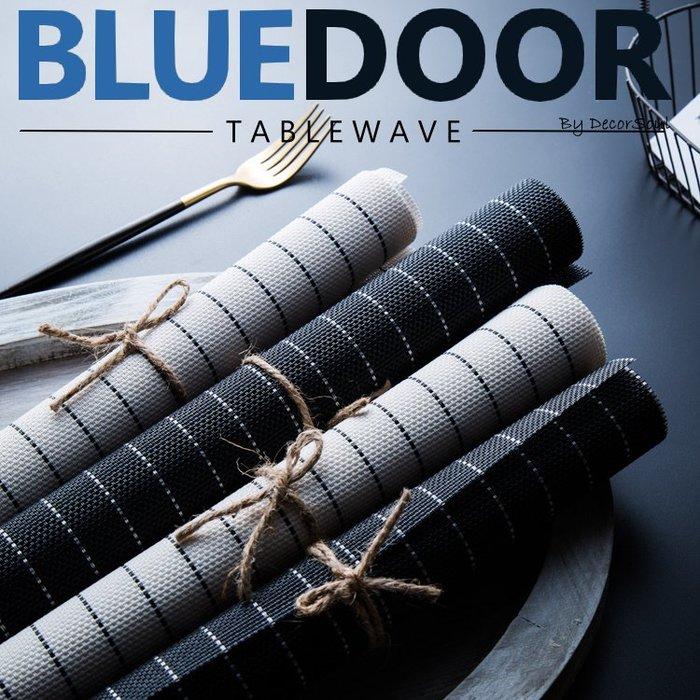 BlueD_ 黑白條紋款 PVC 長方形 耐熱 餐墊 桌墊 餐桌墊 簡約設計 隔熱 桌布 北歐風新居入遷 網美風 IG款