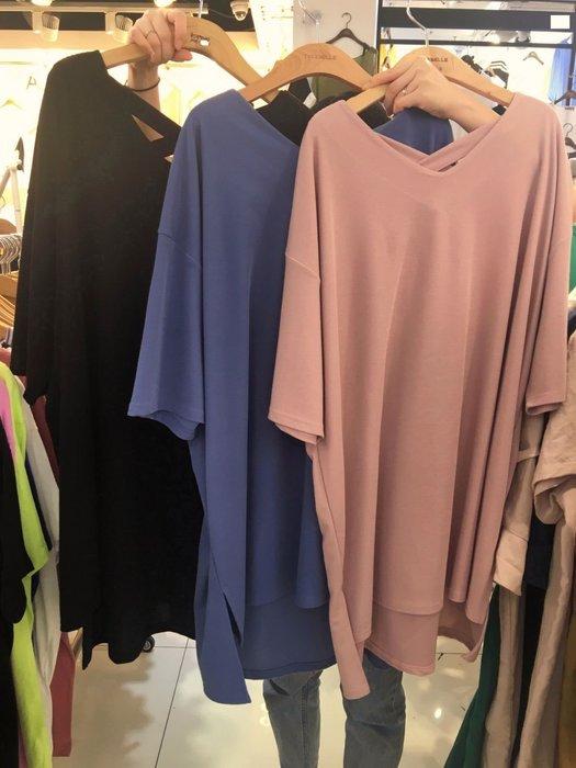 韓國服飾連線(現貨) 👗大尺碼上衣連衣裙  V領露背交叉長版上衣