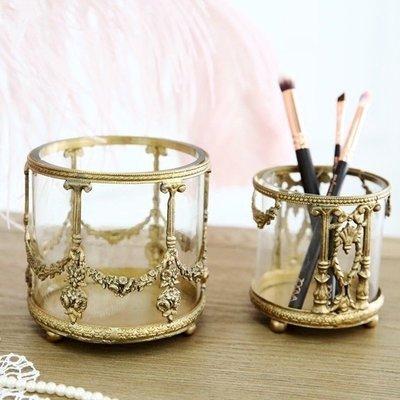 〖洋碼頭〗印度進口手工製作復古黃銅雕花玻璃化妝刷筆筒收納 極美 shx206