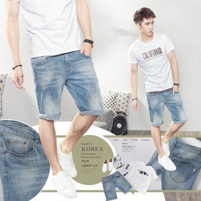。SW。【K91533】正韓BL 韓國製 修身 古著磨痕刷色 挺實彈性單寧布 觸感舒適 窄版 淺藍 彈性牛仔短褲 GD