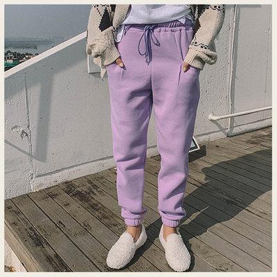 。Styleon。正韓。簡單休閒風抽繩縮口刷毛長褲。韓國連線。韓國空運。1104。【hk02lylo2349】