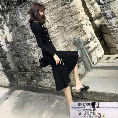 高冷范新款初秋裝女裝針織法式裙魚尾秋季桔梗復古氣質連身裙【斯巴達購物】