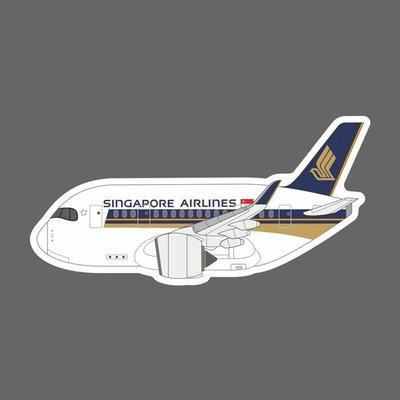 新加坡航空 Q版 A350 飛機造型 防水貼紙 筆電 行李箱 安全帽貼 尺寸90mm