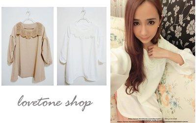 lovetone shop【H10003】傘狀寬版蓬蓬袖蕾絲雪紡小洋裝--淺咖-色現貨 新北市