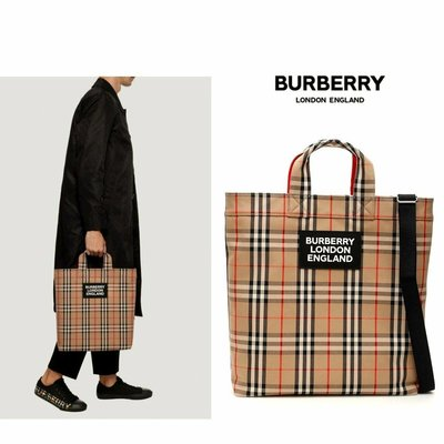 BURBERRY ► 經典格紋 帆布托特包  / 33×39×6cm / 手提包 肩背包 中性款|100%全新正品|代購