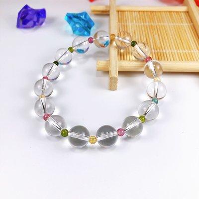 天然精品級白水晶搭配彩色碧璽設計款手鍊,白水晶,碧璽,10M,長金天然水晶藝品