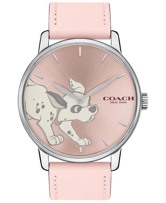 Coco小鋪 COACH 101 Dalmatians Leather Strap Watch  粉色錶帶101忠狗手錶