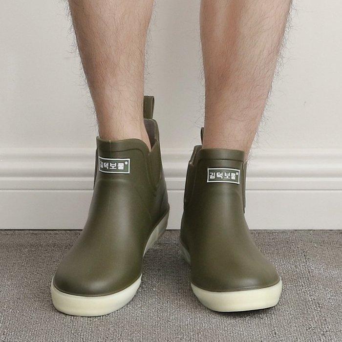 正韓 雨鞋男士塑膠水鞋防滑短筒下雨鞋耐磨韓版學生膠鞋防水廚房鞋6-20