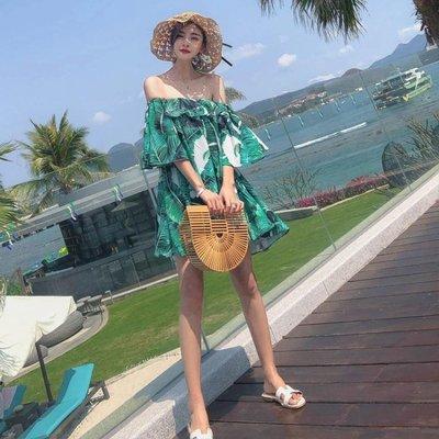 一字肩沙灘裙女泰國普吉島海南三亞海邊度假適合拍照的 【全網最低價】