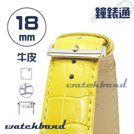 【鐘錶通】C1.32I《亮彩系列-手拉錶耳》鱷魚格紋-18mm 檸檬黃┝手錶錶帶/皮帶/牛皮錶帶┥