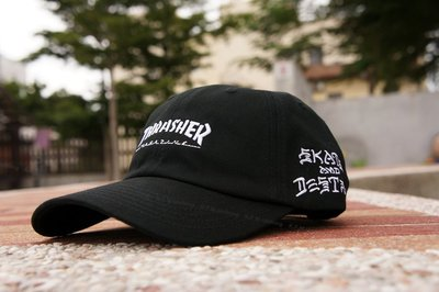 【 K.F.M 】THRASHER HOMETOWN SAD DAD HAT STRAPBACK 老帽 彎帽