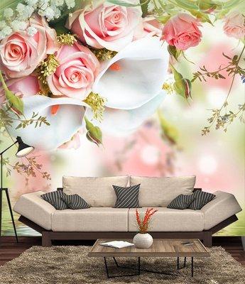 客製化壁貼 店面保障 編號F-657  水面玫瑰 壁紙 牆貼 牆紙 壁畫 背景牆 星瑞 shing ruei