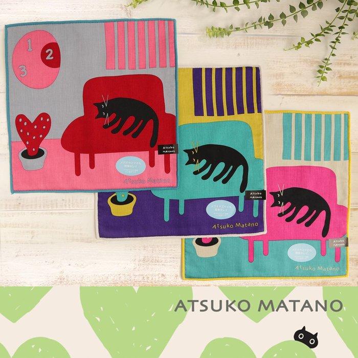 3件促銷780【貓下僕同盟】日本貓雜貨 MEME保野溫子 黑貓棉質小方巾 手帕 生日禮物 25x25cm 3色