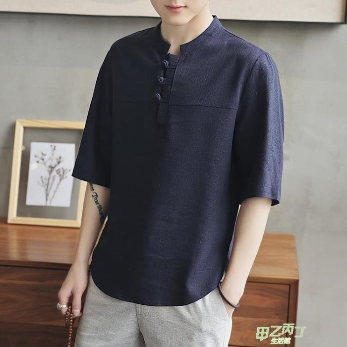 中國風棉麻T恤男裝中式短袖麻料盤扣中袖上衣大尺碼亞麻T恤寬鬆M-5XL❤K/DA❤