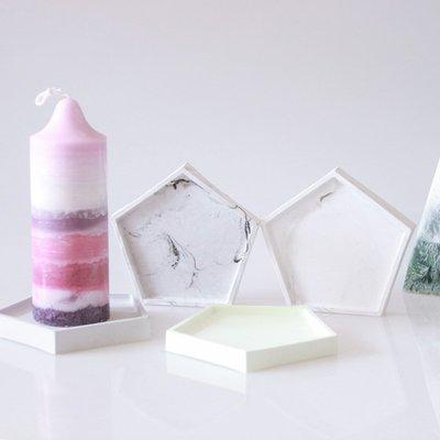 diy香薰石膏五邊形擺件底板硅膠模具香薰蠟燭底座平板模具diy裝飾材料-萬象屋