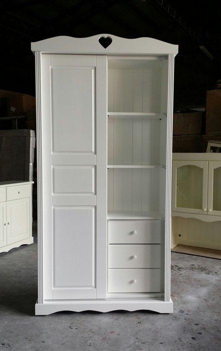 美生活館 鄉村家具訂製 客製 紐西蘭松木原木 純白色雙推門衣櫥 衣櫃 收納櫃 衣帽櫃 也可修改尺寸顏色再報價