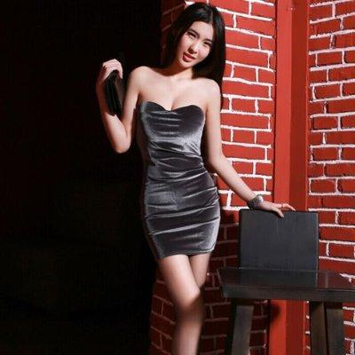 抹胸洋裝 夏季新款女裝絲絨夜店性感抹胸包臀露背修身打底洋裝潮顯瘦
