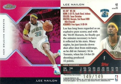 2006 TOPPS FINEST LEE NAILON #41 149/149 亮卡 尾號 黃蜂隊