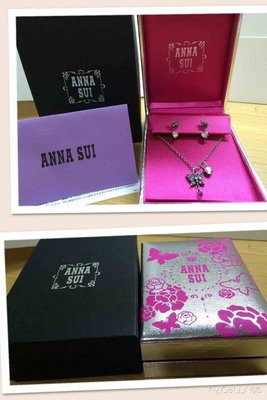 日本聖誕節限量ANNA SUI 紫水晶水鑽蝴蝶純銀項鍊及耳環套組