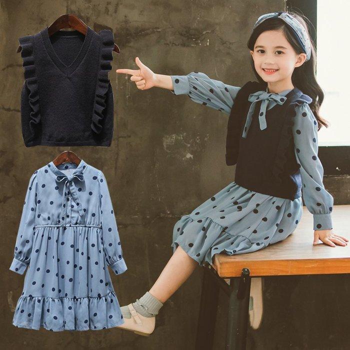 『媽咪貝貝』女童連衣裙兩件套2019春裝新款中大童韓版波點公主裙女孩網紅套裝
