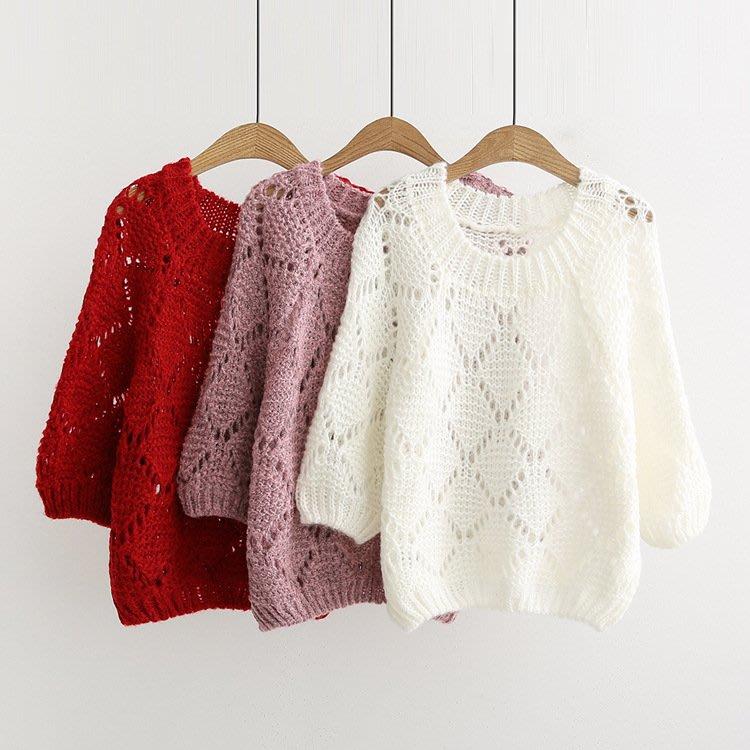 【6980】毛衣  日系森女系鏤空長袖毛衣。☆*藍荳荳小舖*☆(預購)