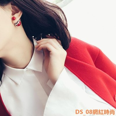 DS_08網紅時尚ZOXI氣質s925純銀微鑲前后掛式蕾絲珍珠耳釘韓國雪花小香風耳環女