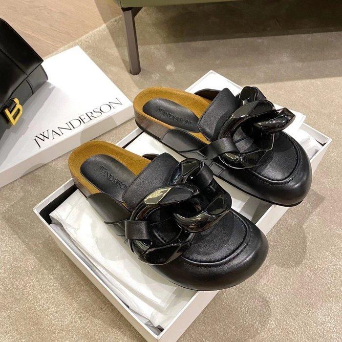 Jw 圓頭大鏈條穆勒鞋 平底包頭拖鞋