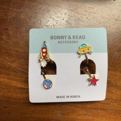 9.99成新 BONNY&READ  太空船的歷險 夾式耳環組