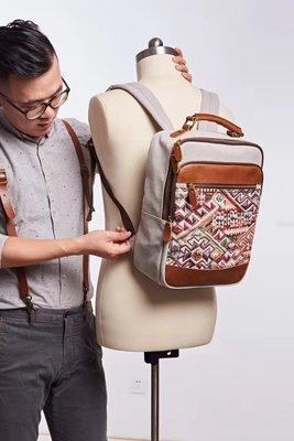 ~皮皮創~原創設計手作包。波西米亞民族風繡花圖騰手提包雙肩背包後背包