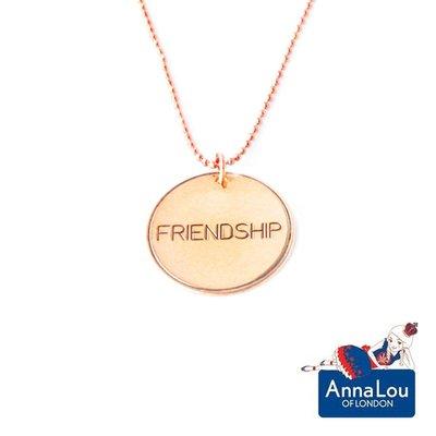 Anna Lou OF LONDON 倫倫敦品牌 優雅字墜 玫瑰金項鍊 Friendship