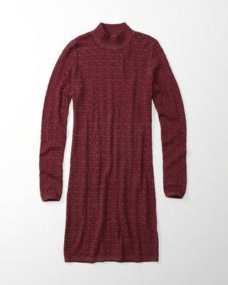 【天普小棧】A&F Abercrombie&Fitch Knit Sweater Dress高領針織毛衣洋裝XS/S號