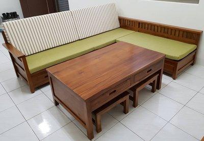 【南台灣傢俱】L型100%全實木印尼柚木木製沙發組椅市價$59900,驚喜價再免運費