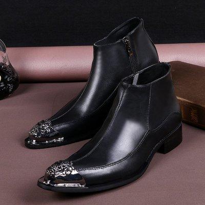 個性時裝男皮鞋 外貿歐美個性時尚布洛克潮流英倫復古男靴皮靴短靴男鞋真皮舞臺靴