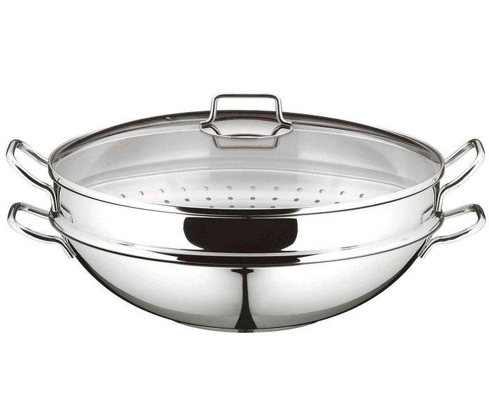 德國Zwilling 雙人牌 不鏽鋼中式炒鍋 32cm  12.5吋 附蓋 含蒸籠