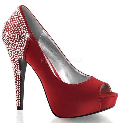 Shoes InStyle《五吋》美國品牌 FABULICIOUS 原廠正品水鑚緞面厚底高跟魚口鞋 有大尺碼『紅色』
