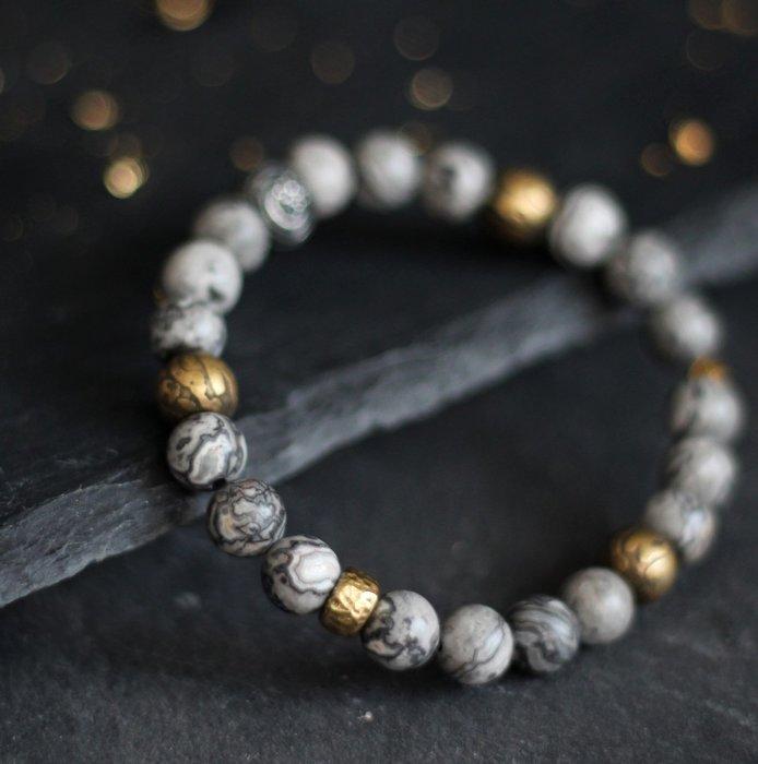 般若. 天然礦石手環 畢卡索石 925銀 精質純銅