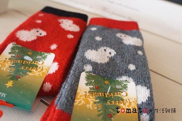 ˙TOMATO生活雜鋪˙日本進口雜貨日本製耶誕氛圍雪人圖樣毛料保暖襪