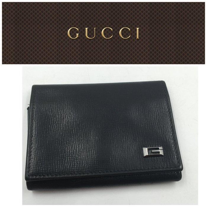 【皮老闆二店】二手真品 Gucci 錢包 皮夾 卡夾 名片夾 證件夾 藍119