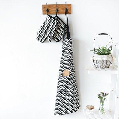 圍裙川島屋 木棉黑色幾何三角純棉圍裙隔熱手套隔熱墊餐墊餐巾GD-27