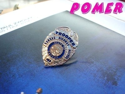 TROOPER KANSAS HIGHWAY PATROL美國堪薩斯州高速公路巡警 銀色警徽造型紀念別針胸針徽章