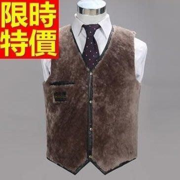 皮背心 皮馬甲-真綿羊皮V領設計加厚雙面反穿男外套65t16[獨家進口][巴黎精品]
