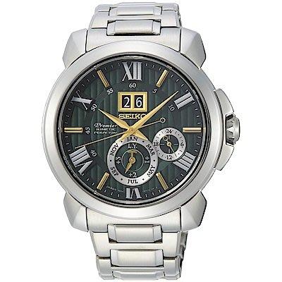 可議價.「1958 鐘錶城」SEIKO精工錶 Premier 大視窗萬年曆限量250只(SNP155J1)-42.9mm