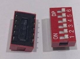 ►565◄指撥開關 撥碼開關 6位元 12腳 DIP平型 直插 2.54MM間距 紅色 編碼開關