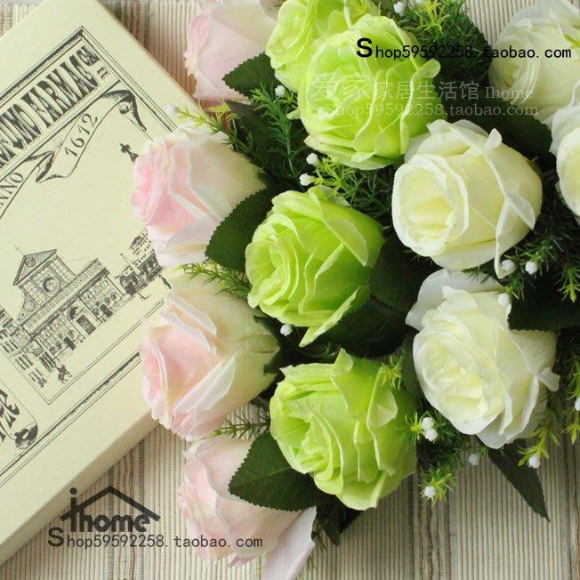 假花瓶 假花 仿真花 花器 花盆 玻璃 年花熱賣仿真花玫瑰客廳裝飾花假花絹花單枝玫瑰甜心玫瑰家居飾品