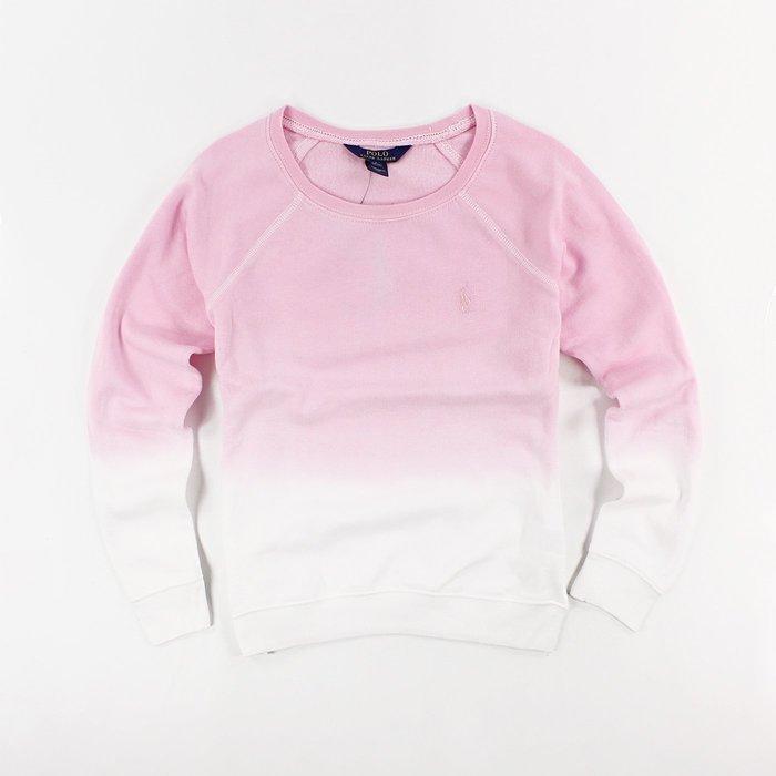 美國百分百【Ralph Lauren】Polo衫 RL 長袖 T恤 T-shirt 大學T 小馬 女 粉紅漸層 H898