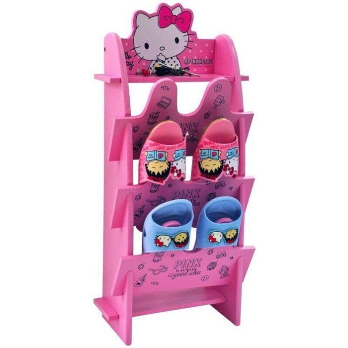 限時💕特價~正版授權 木製 Hello Kitty 鞋架 置物架 拖鞋架 KT-630045【羅曼蒂克專賣店五館】