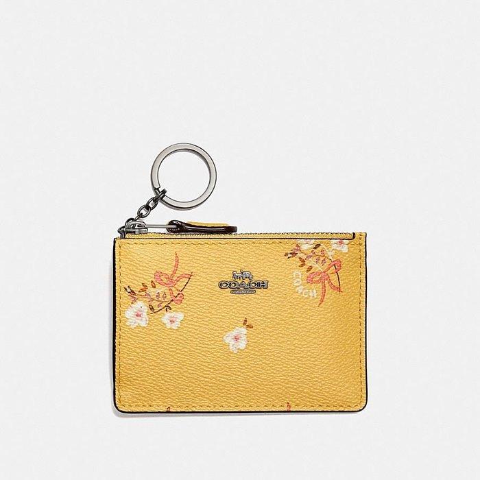 Coco小鋪 COACH 29872 Mini Skinny Id Case 鵝黃色花卉蝴蝶結印花迷你輕薄證件夾